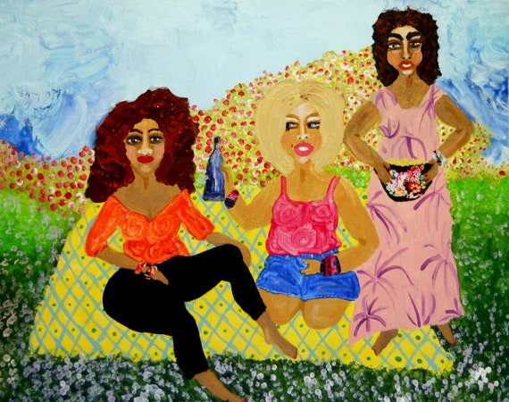 "HAPPY CAMPERS- Acrylic Mix Media Painting on 16 x 20"" canvas panel, Ethnic Art; Outsider Folk Artist Stacey Torres women glamping together"