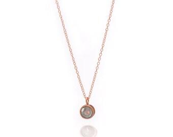 Gemstone POP Necklace - Rose Gold Necklace - Labradorite Necklace - Small Gemstone Pendant Necklace - 18k Rose Gold Vermeil