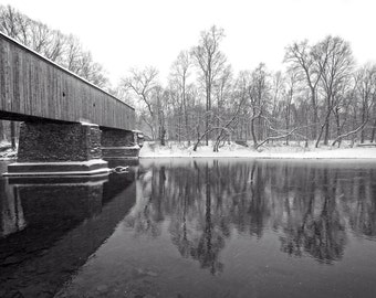 Schofield Ford Covered Bridge in Winter Black and White Photography Snow Storm River Reflection Landscape Photograph Monochrome Art Print