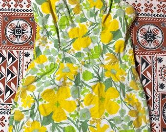 Vintage 1960s Cotton Swimsuit Bathing Suit Playsuit Romper Yellow Green White Flower Power Mod Retro Hippie Boho Festival Sun Suit