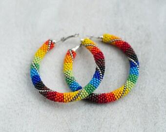 Rainbow Hoops, Chunky Hoop Earrings, Patchwork Earrings, Patchwork Earrings, Colorful Earrings, Rainbow Hoop Earrings - MADE TO ORDER