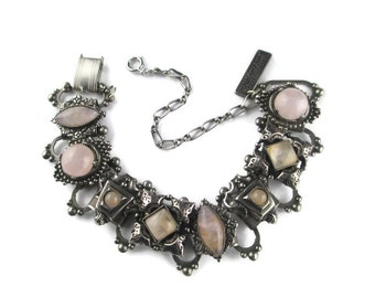 Jan Michaels Victorian Revival  Rose Quartz Cabochon Oxidized Silver Plate over Brass  Bookchain Bracelet