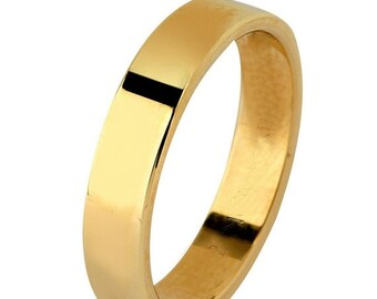 Mothers Day Sale 14 kt  Yellow Gold Classic Smooth Cigar Style 3mm Wide Commitment or Wedding Band Custom made Size 4 through 7