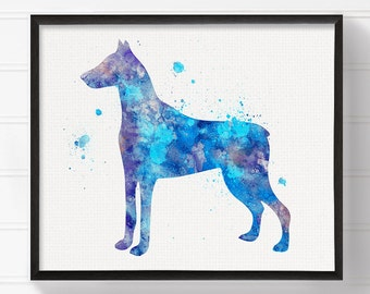 Watercolor Doberman - Doberman Art - Doberman Print - Doberman Painting - Watercolor Dog - Dog Wall Art, Dog Lover Gift, Doberman Pinscher