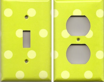 Neon Lime Green Polka Dots Light Switch Cover and Outlet Covers Kids Room Decor Bathroom Wall Decor Switch Plate Covers Nursery Decor