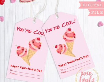 Valentine's Day Tags - printable valentine's gift tag - personalized printed tags Valentine's Favor Hang Tag - You're Cool