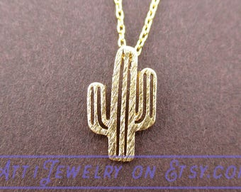 Miniature Arroyo Cactus Succulent Plant Shaped Charm Necklace Gold | Handmade Simple and Dainty Jewelry