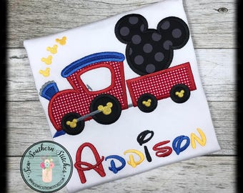 Mr Mouse Train Applique Design ~ Instant Download