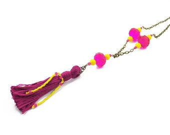 Bright Fuchsia and Yellow Beaded Tassel Necklace, Bohemian Jewelry, Long Beaded Necklace, Adjustable Length Boho Necklace