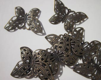 prints 2 Butterfly top with metal color bronze 2.1 cm (115)