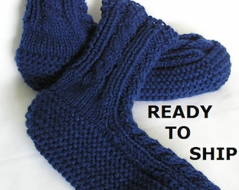 Navy Blue Slippers Womens or Mens Knitted Slippersocks Womens Slippers 9 - 10 or Mens Slippers 8N Handknitted Bedsocks