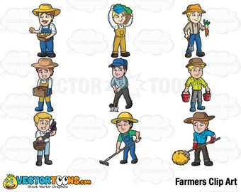 Farmers Clip Art, Digital Clipart, Digital Graphics