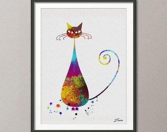 Cat poster, cat watercolor poster, cat print, cat deocr, cat wall decor, watercolor print wall art decor cat children gift women gift A074