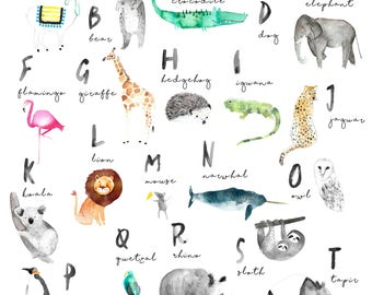 Alphabet Printable, Digital Printable, Printable ABC , Nursery Decor, Watercolor Animal Alphabet, Printable,  Watercolor ABC, ABC Poster