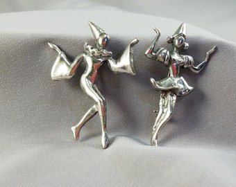 Vintage Sterling Silver Harlequin Male and Female Pair Dancers Pin/Brooch