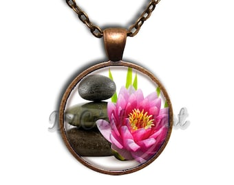 Find Your Zen Glass Dome Pendant or with Chain Link Necklace SM171