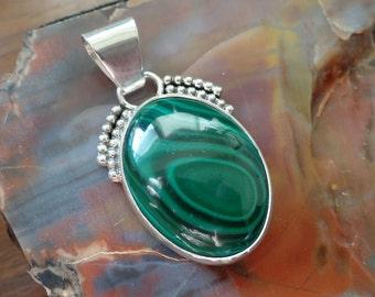 Malachite Pendant, Sterling Silver Malachite Pendant, 925, Malachite Necklace, Ladies Malachite Necklace, Healing Gemstone, 1030