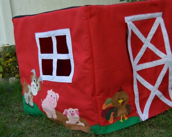 Card Table Play House, Barn with Animals, Felt Playhouse  -  PDF PATTERN ONLY