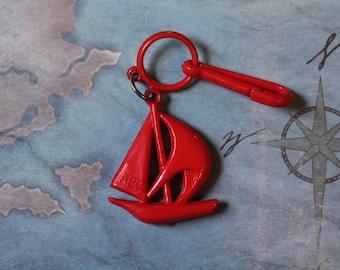 Jahrgang Glocke Anhänger Segelboot rot sport sportlich - Charme-Armband - Halskette - Retro Schlüsselanhänger-Clip - Reißverschluss ziehen Kitsch Kawaii Mini 80er Jahre
