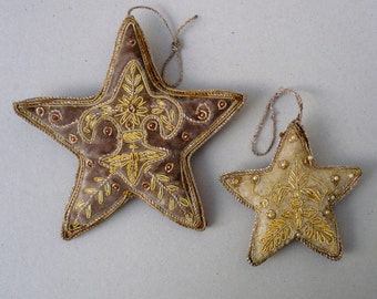 Traditional German Star Decorations. Beaded Star Decorations.