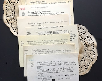 7 Vintage library cards