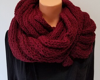 Dark Red Hand Knit Infinity Scarf