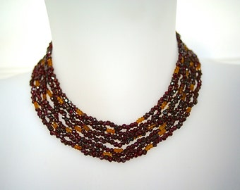 Garnet and citrine necklace