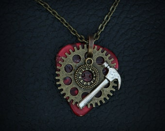 Guitar Pick Necklace - Steampunk - Geared Hammer Shield