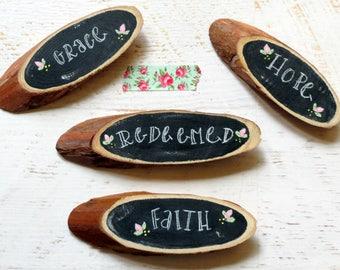 handpainted magnet, custom magnet, wood slice decor, hand lettered sign, stocking stuffer, refridgerator magnet, handmade gift under 10