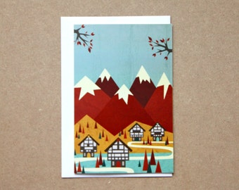 Scandinavian Card; Christmas Card, Anniversary Card, Wedding Day Card, Birthday Card