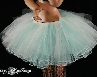Glow Haven Rave Layered two tone tutu skirt dance white and aqua adult -- You choose size