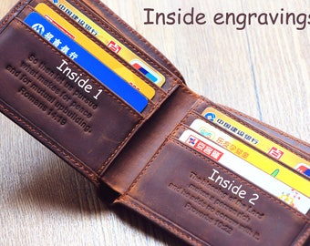 Distressed Leather Wallet; Personalized Wallet; Fathers Gift; Dad Gifts; Gift Idea; Gift for Him; Graduation Gift; Men's Wallet; Good Gift