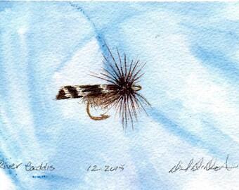 Fly Fishing Art - Original Art - Watercolor - Caddis - Dry Fly - Made in Michigan - Michigan Artist - Fly Fishing - Black Frame