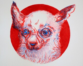 Weird Dog - Chihuahua - Original art print on archival paper
