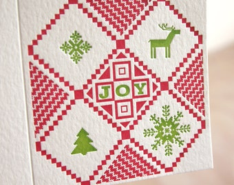 Letterpress Christmas card, Jumper for joy, Christmas Candy, retro. Swedish ugly sweater in red and green. Made in Australia