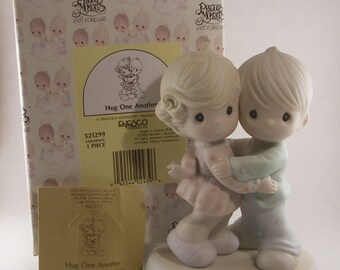 """Precious Moments """"Hug One Another"""" Porcelain Figurine Enesco - Vintage Collectible Figurine - Boy and Girl Hugging - 1990 - Retired"""