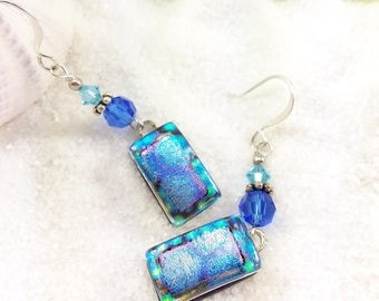 Fused glass jewelry, dichroic glass earrings, fused glass art, dichroic glass, earrings handmade, blue earrings, trending now, artistic