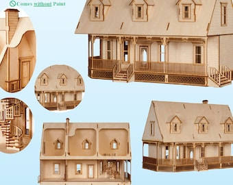 Alisha Country Dollhouse miniature house kit in 1:24 scale  quarter scale laser cut wood