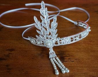 Gatsby headpiece, crystal headpiece, bridal headpiece, vintage style headband, flapper headband, 1920s headband, crystal browband