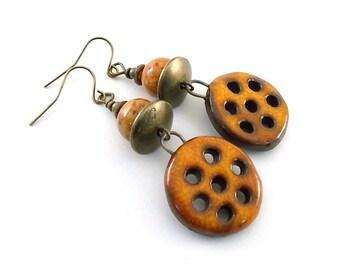 Handmade Earrings, Ceramic Earrings, Orange Honeycomb Earrings, Rustic Earrings, Boho Earrings, Artisan Earrings, Long Earrings, AE191