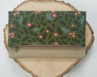 """The """"Kate"""" fold over clutch, floral zipper pouch, Dark green Floral, rosebud"""