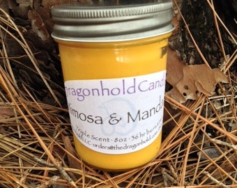 Mimosa & Mandarin 8oz Hand Poured Candle, Soy-Paraffin, Triple Scented
