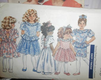 Butterick Sewing Pattern 4760 Girl's Dress Toddler Size 1-2-3