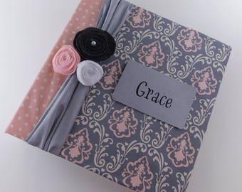 Baby memory Book Girl Photo Album Scrapbook 4x6 5x7 8x10 Picture Pregnancy Keepsake Baby Journal Gray Damask Blush Pink
