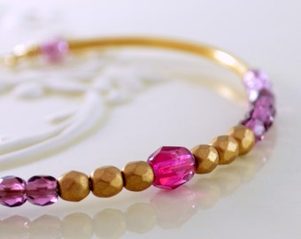 Gold Bangle, Pink Purple Rapberry Czech Glass, Beaded Stacking Bracelet, Gold Plated Jewelry