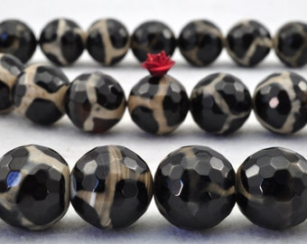 27 pcs of Tibetan Agate turtleback faceted round beads in 14mm