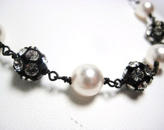 Gothic Wedding Necklace, Oxidized Sterling Silver Chain, White Pearls, Rhinestone Fireballs, Wire Wrapped, Everyday Fashion Necklace