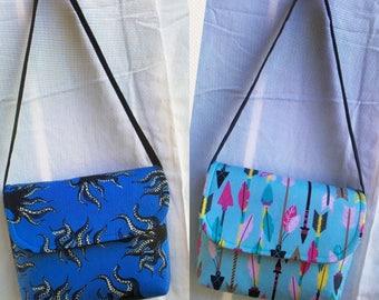 Blue n blk octopus/squid Messenger bags