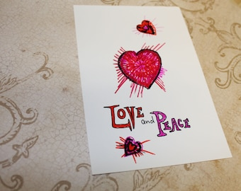 Love and Peace hand drawn art card