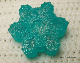 Blue Snowflake Soap Holiday Stocking Stuffer ~ Co-worker Gift ~ Hostess Gift ~ Cotton Candy Scented Soaps
